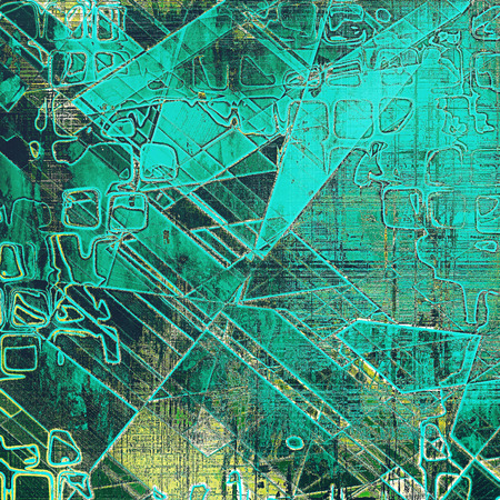 exceptional: Geometric abstract vintage background with grunge effects, ragged elements, and different color patterns: yellow (beige); brown; gray; green; blue; cyan Stock Photo