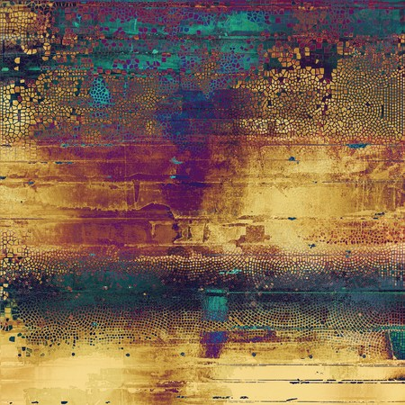 Old-style dirty background with textured vintage elements and different color patterns: yellow (beige); brown; green; blue; red (orange); purple (violet)