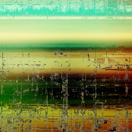 Background with dirty grunge texture, vintage style elements and different color patterns: yellow (beige); brown; green; blue; red (orange); black