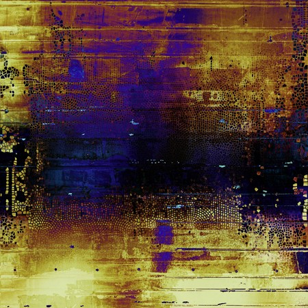 Antique frame or background with vintage feeling. Aged texture with different color patterns: yellow (beige); brown; blue; purple (violet); black; pink Stock Photo