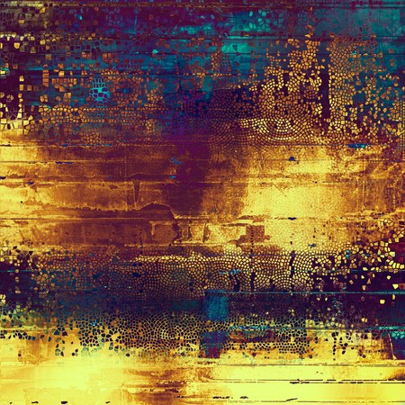 Vintage torn texture or stylish grunge background with ancient design elements and different color patterns: yellow (beige); brown; blue; red (orange); purple (violet); pink Stock Photo