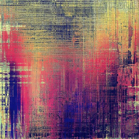 Distressed grunge texture, damaged vintage background with different color patterns: yellow (beige); blue; red (orange); purple (violet); pink
