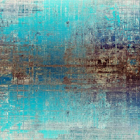 Vintage texture or antique background with grunge decorative elements and different color patterns: yellow (beige); brown; blue; cyan; white