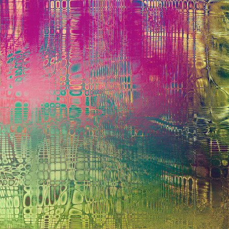 Vintage decorative texture with grunge design elements and different color patterns: yellow (beige); brown; green; blue; purple (violet); pink Stock Photo