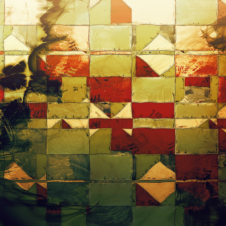 eroded: Geometric grunge texture, detailed macro closeup, vintage composition. With different color patterns: yellow (beige); brown; green; red (orange); black; white Stock Photo