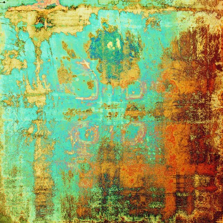 Grunge retro texture, aged background with vintage style elements and different color patterns: yellow (beige); brown; green; blue; red (orange); cyan