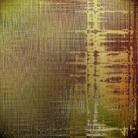 eroded: Grunge retro texture, aged background with vintage style elements and different color patterns: yellow (beige); brown; gray; green; red (orange) Stock Photo