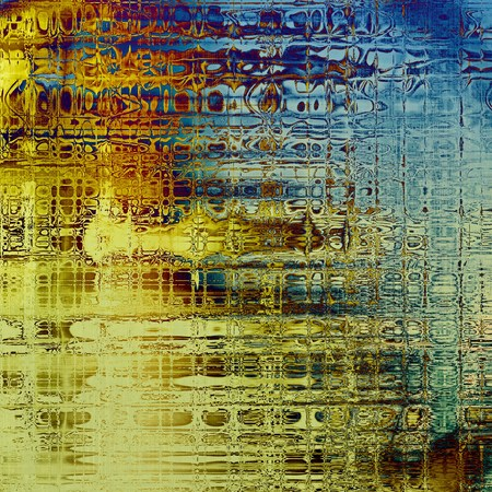 eroded: Art grunge background or vintage style texture with retro graphic elements and different color patterns: yellow (beige); brown; blue; red (orange); cyan