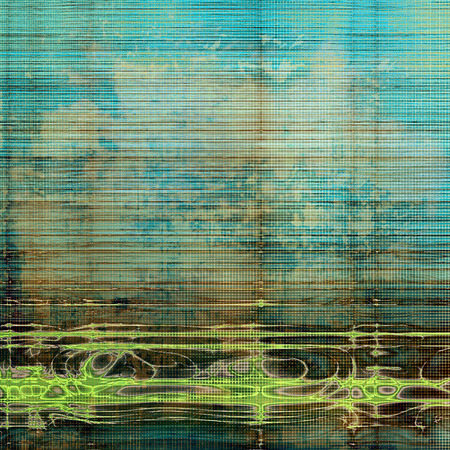 Old-style dirty background with textured vintage elements and different color patterns: yellow (beige); brown; green; gray; cyan; blue