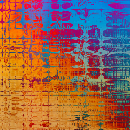Oldest vintage background in grunge style. Ancient texture with different color patterns: yellow (beige); blue; red (orange); purple (violet); pink; cyan Stock Photo