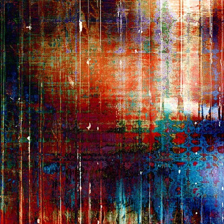 Vintage style designed background, scratched grungy texture with different color patterns: green; blue; red (orange); purple (violet); pink Stock Photo