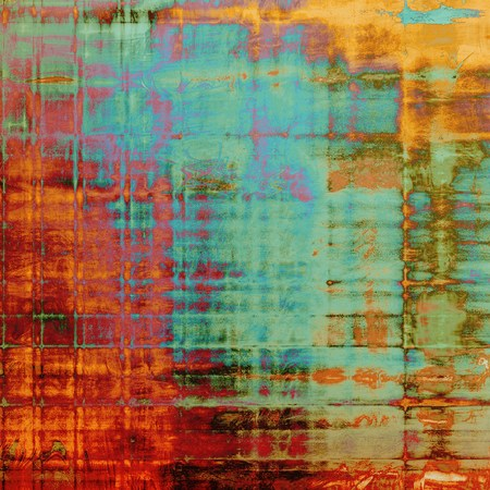Old ancient texture, may be used as abstract grunge background. With different color patterns: yellow (beige); brown; green; blue; red (orange); purple (violet) Stock Photo