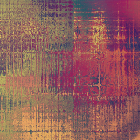 Vintage style background with ancient grunge elements. Aged texture with different color patterns: yellow (beige); brown; gray; purple (violet); red (orange); pink