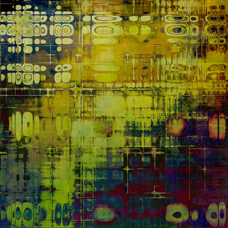 Art grunge background or vintage style texture with retro graphic elements and different color patterns: yellow (beige); brown; green; blue; red (orange); purple (violet) Stock Photo