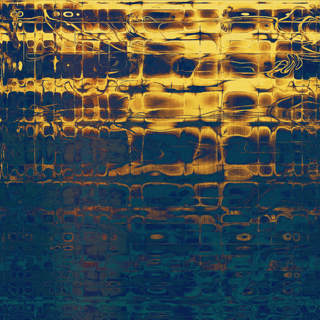 Distressed grunge texture, damaged vintage background with different color patterns: yellow (beige); brown; blue; cyan