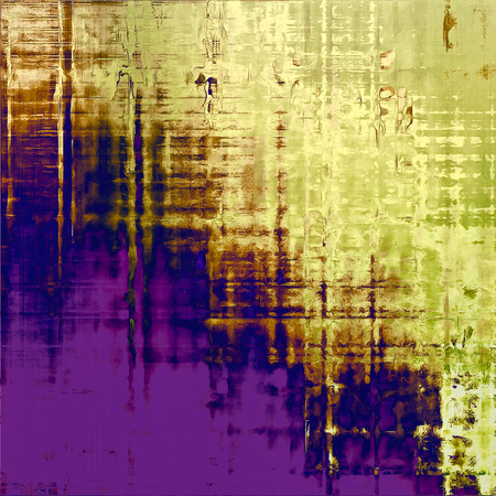 eroded: Antique frame or background with vintage feeling. Aged texture with different color patterns: yellow (beige); brown; green; blue; purple (violet)