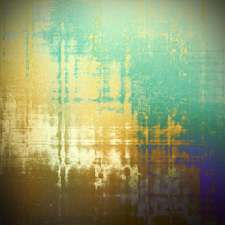 Retro style abstract background, aged graphic texture with different color patterns: yellow (beige); brown; green; blue; gray; white