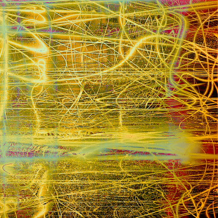 Abstract scratched background or frame with weathered grunge texture. Ancient style backdrop with different color patterns: yellow (beige); brown; green; red (orange); cyan Stock Photo