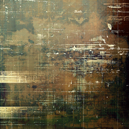 eroded: Shabby texture or background with classy vintage elements. Grunge backdrop with different color patterns: yellow (beige); brown; green; gray; black Stock Photo