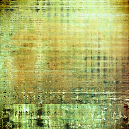 corrosion: Old school frame or background with grungy textured elements and different color patterns: yellow (beige); brown; green; gray