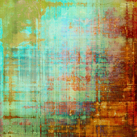 Vintage ancient background or texture with grunge decor elements and different color patterns: yellow (beige); brown; green; pink; blue; red (orange) Stock Photo