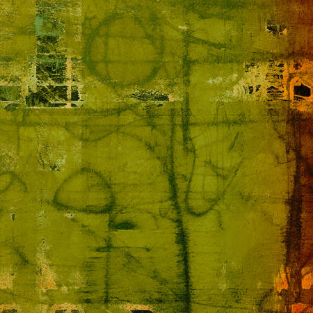 Tinted vintage texture, aged decorative grunge background with traditional antique elements and different color patterns: yellow (beige); brown; green; gray; red (orange)