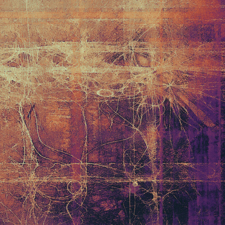 Aging grunge texture designed as abstract old background. With different color patterns: yellow (beige); brown; pink; red (orange); purple (violet); black Stock Photo