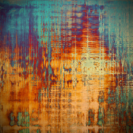 eroded: Rough textured backdrop, abstract vintage background with different color patterns: yellow (beige); brown; blue; red (orange); purple (violet); cyan