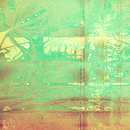 Abstract vintage background with grunge effects, ragged elements, and different color patterns: yellow (beige); brown; green; red (orange); cyan Stock Photo