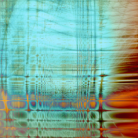Abstract scratched background or frame with weathered grunge texture. Ancient style backdrop with different color patterns: yellow (beige); green; blue; red (orange); purple (violet); cyan