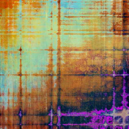 eroded: Abstract grunge background of old texture. With different color patterns: yellow (beige); brown; blue; red (orange); purple (violet); black