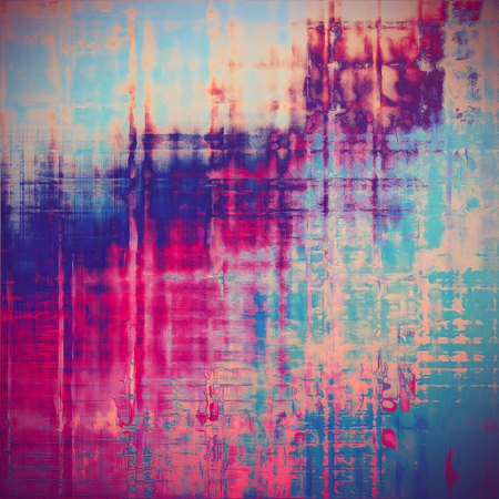 Retro vintage style elements on aged grunge texture. With different color patterns: yellow (beige); blue; red (orange); purple (violet); cyan; pink Stock Photo