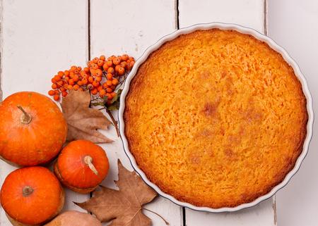 Autumn still life. Homemade Pumpkin Pie for Thanksgiving Day. Selective focus.