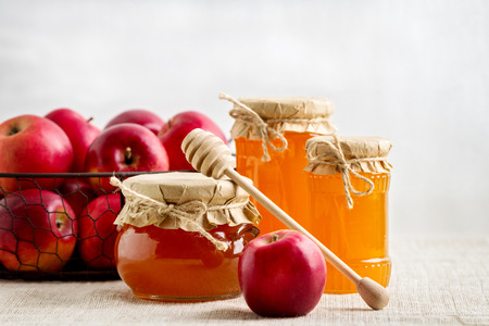 glass paper: Honey and apples. Rustic style. Stock Photo