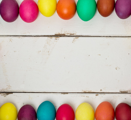Multi-colored Easter eggs. Selective focus.