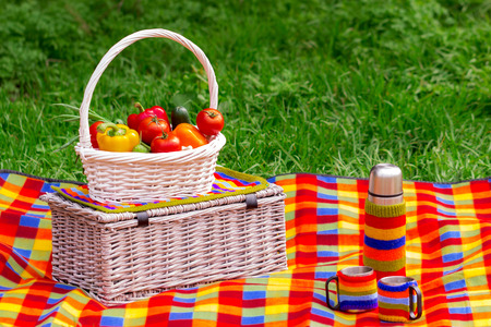 thermos: Picnic on the grass. Picnic basket with vegetables. A thermos of tea.