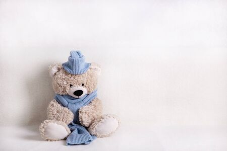 Children's toy teddy bear is sitting on a white sofa in a knitted scarf and hat in blue. Selective focus. Banco de Imagens