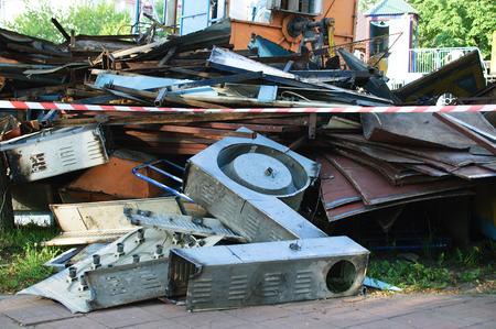 Dump of metal waste on the street.