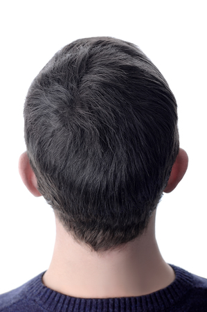 Men's hair after using cosmetic powder for hair thickening. White isolate. 스톡 콘텐츠