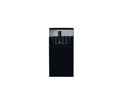 A black pack of cigarettes is worth it. White isolate Imagens