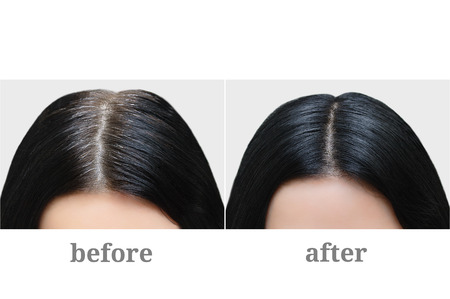 Head of a girl with black gray hair. Hair coloring. Before and after. Stock Photo