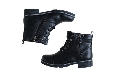 Black leather boots with zipper and laces. White isolate Banque d'images