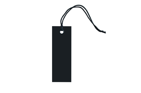 Black tag for clothes with a ring on a lace. Close-up. White isolate