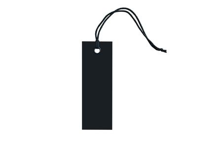 Etiqueta negra para ropa con anilla en encaje. De cerca. Aislar blanco