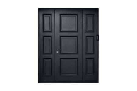 Black metal entrance door white isolate