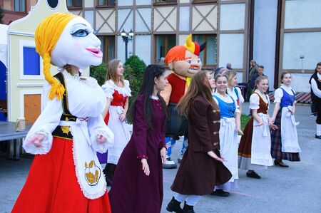Russia 10-04-2019. Open event in the Russian-German house. Dancing in national costumes in the open air close-up. Redakční