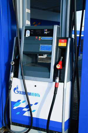 Russia 09-25-2019. Gas station. Blue metal terminal for refueling cars with gasoline.