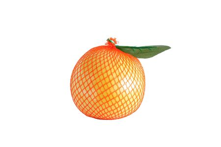 Yellow pomelo fruit in a mesh package. White isolate.