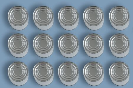 Canned food in a metal can on a blue background. View from above.