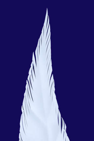 White leaf of the plant foamiran on a blue background. Banque d'images - 157309440